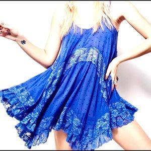 Free People She Swings Periwinkle Blue Lace Slip